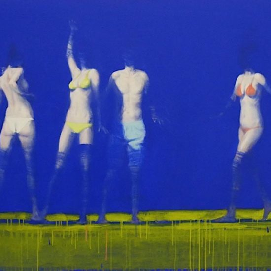Xavier Jambon, Entre ciel et terre, 2015, acrylique sur toile, 150 x 100 cm