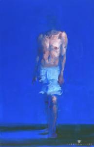 Xavier Jambon, L'Homme bleu, 2017, acrylique sur toile, 170 x 110 cm