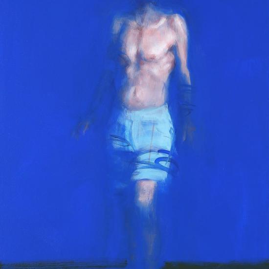 Xavier Jambon, L'Homme bleu, 2017, acrylique sur toile, 90 x 60 cm