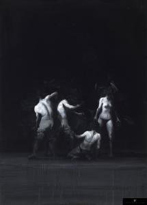 Xavier Jambon, La Ronde de nuit, 2017, acrylique sur toile, 140 x 110 cm