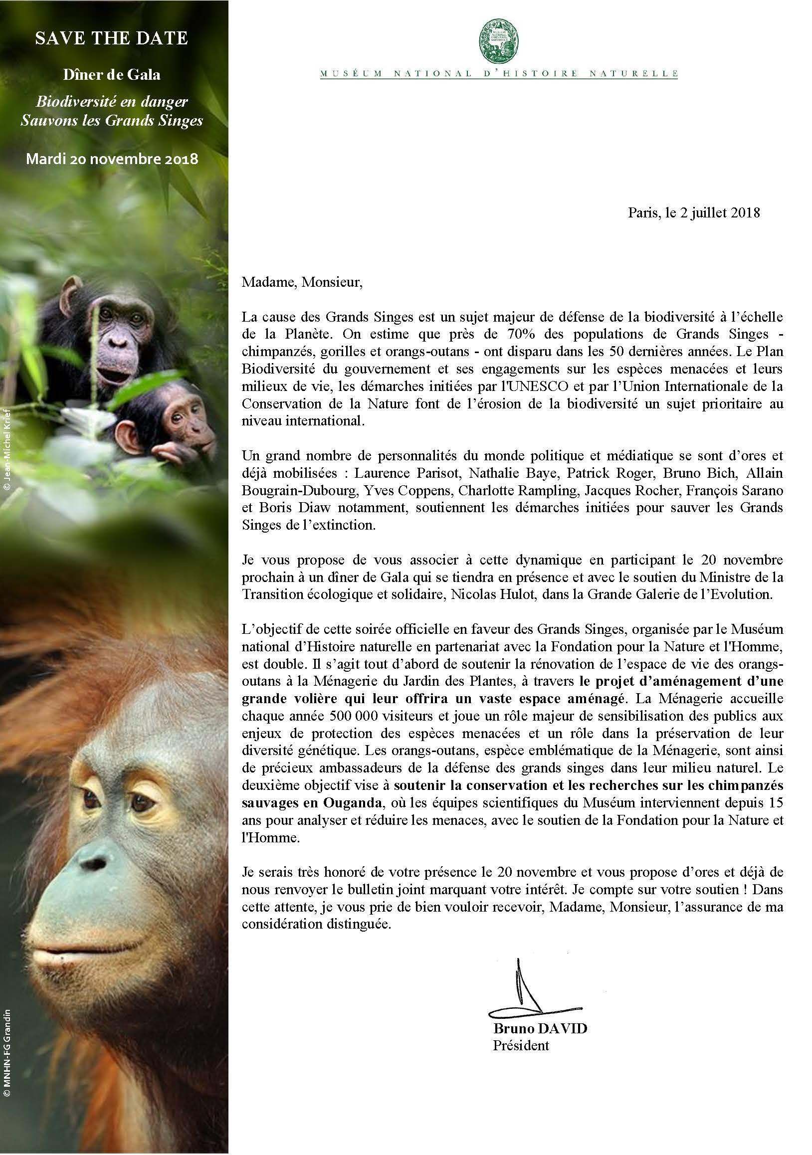 Gala Grands Singes Museum National d'Histoire Naturelle