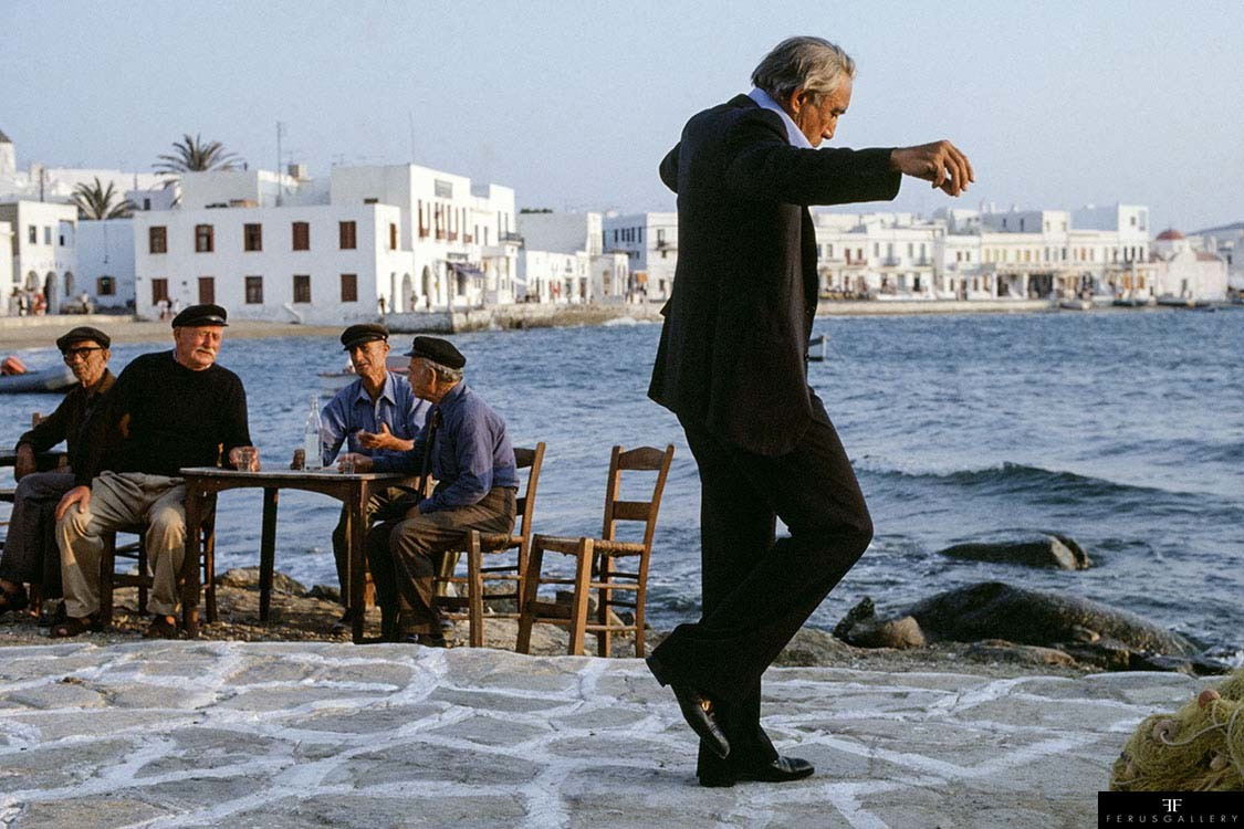 Mexican-born American actor Anthony Quinn as shipping magnate Onassis on the film set of 'The Greek Tycoon' by director J. Lee Thompson, Mykonos, Greece, 1978.