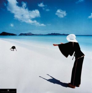 Dutch fashion model Apollonia van Ravenstein, photographed by Norman Parkinson on Praslin Island, Seychelles, in 1970.