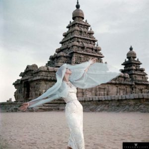 Irish-American fashion model Barbara Mullen at the Shore Temple at Mahabalipuram in India photographed for Vogue magazine in November 1956.