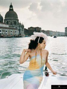 English actress Helena Bonham Carter models in Venice as the World Gold Council's 'Face of Gold', April 2002.