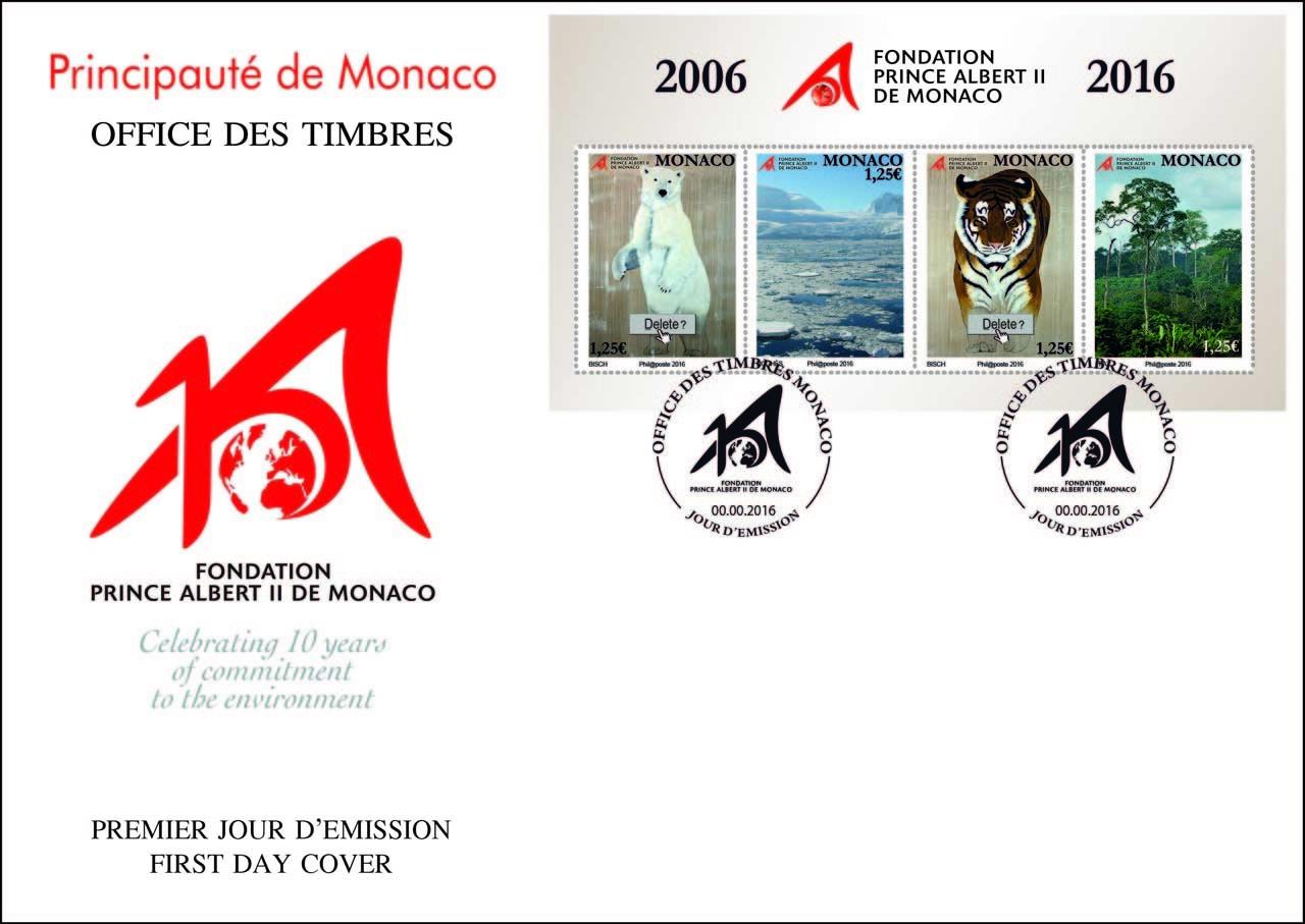 Timbres de Thierry Bisch pour la Fondation Prince Albert II de Monaco par l'Office des Timbres de Monaco