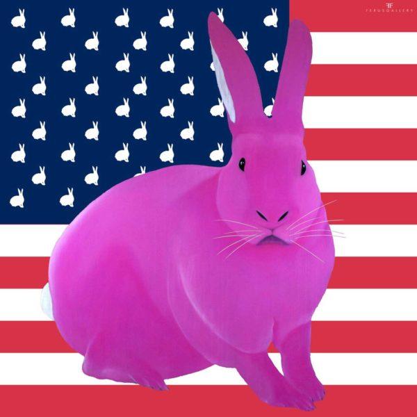 Une édition limitée du Lapin drapeau US de Thierry Bisch