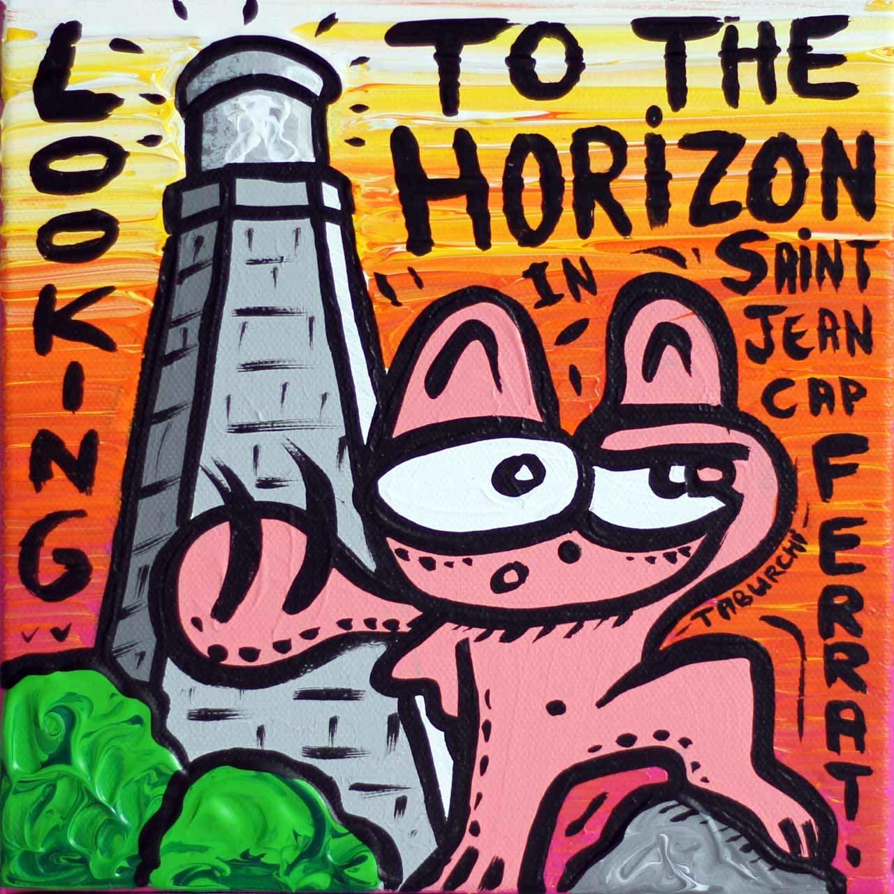 Regarder à l'Horizon, avec le Chat Rose de Jérémy Taburchi, peinture à l'acrylique sur toile